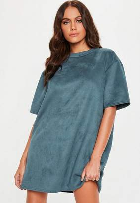 Missguided Blue Grey Faux Suede Oversized T Shirt Dress