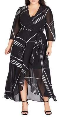 City Chic Plus Power Lines Wrap Maxi Dress