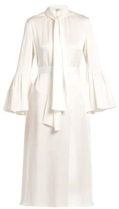 Fendi Pleat-side tie-neck satin midi dress