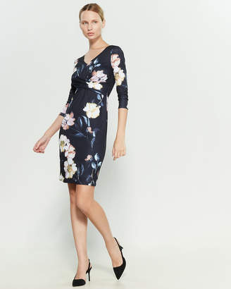 T Tahari V-Neck Floral Print Dress