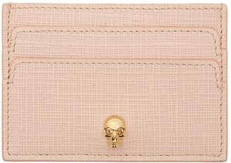 Alexander McQueen Pink & Gold Lino Skull Card Holder $175 thestylecure.com
