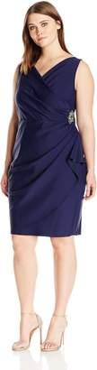 Alex Evenings Women's Plus Size Short Side Ruched Stretch Dress, 22W