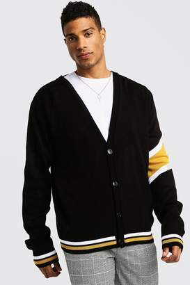 boohoo Varsity Arm Stripe Knitted Cardigan