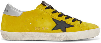 Golden Goose Deluxe Brand - Superstar Distressed Leather-paneled Suede Sneakers - Chartreuse $460 thestylecure.com
