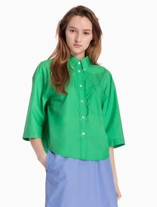 Calvin Klein poplin cotton short sleeve easy top