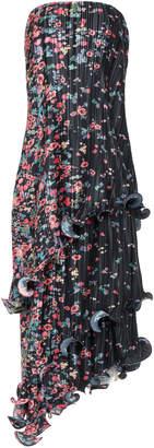 Givenchy Strapless Floral-Print Plissé-Crepe Midi Dress Size: 34