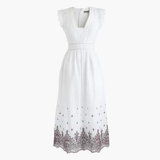 J.Crew Petite Point Sur embroidered flutter-sleeve midi dress
