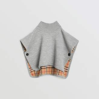 Burberry Reversible Check Merino Wool Jacquard Poncho, Grey
