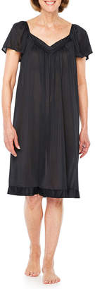 Asstd National Brand Lissome Lounge Tricot Short Sleeve Sweetheart Neck Nightgown