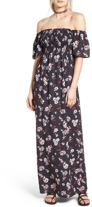 Women's Socialite Smocked Off The Shoulder Maxi Dress $55 thestylecure.com