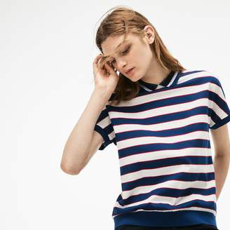 Lacoste Women's Back Button Colorblock Striped Pique Polo