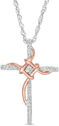 Zales 1/10 CT. T.w. Diamond Layered Knot Cross Pendant in Sterling Silver and 10K Rose Gold qTnpzHLZxV