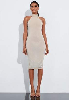 Missguided Nude Embellished High Neck Midi Dress