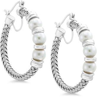 Effy Pearl by Cultured Freshwater Pearl (6mm) Hoop Earrings in Sterling Silver