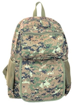 Montauk Leather Club Military Camouflage Woodland Print Water Resistant Backpack with 1Front Zipper Pocket and 1 Velcro Flap Zipper Pocket