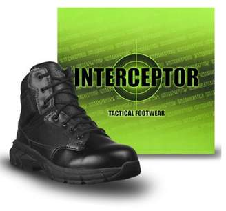Interceptor Guard Zippered Ankle High Work Boots, Slip Resistant, Black, Mens Size 10