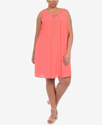 NY Collection Plus Size Pleated Necklace Shift Dress