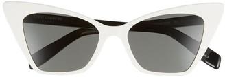 Saint Laurent White Retro Cat-Eye Sunglasses