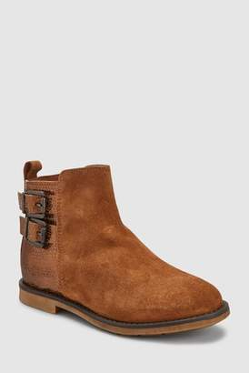 2019653fb84 at Next · Next Girls Tan Suede Buckle Boots (Older)