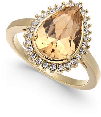 Charter Club Gold-Tone Crystal & Stone Ring