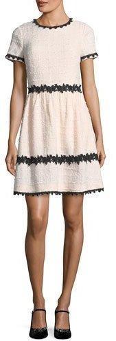 Kate Spade New York Jayne Jewel-Neck Tweed Mini Dress W/ Lace Trim