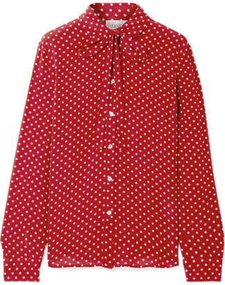 RED Valentino Pussy-bow Polka-dot Silk Crepe De Chine Blouse - Claret