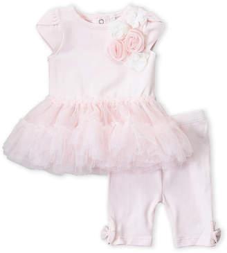 Miniclasix (Newborn Girls) Two-Piece Pink Rosette Tutu Dress & Leggings Set