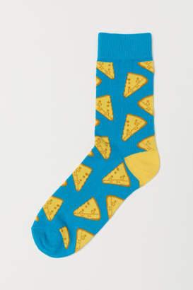 H&M Jacquard-knit Socks - Turquoise