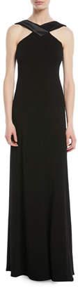 Emporio Armani A-Line Halter Jersey Evening Gown w/ Satin Trim