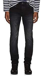 Purple Men's Distressed Skinny Jeans - Black