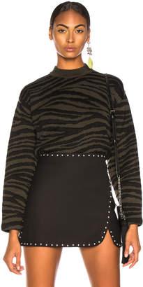 Proenza Schouler (プロエンザ スクーラー) - Proenza Schouler Tiger Jacquard Mockneck Sweater in Dark Green & Black | FWRD