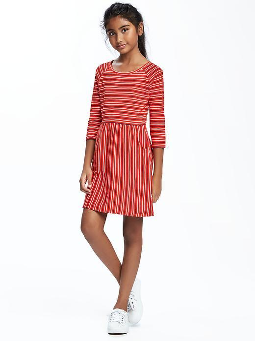 Striped Jersey Fit & Flare Dress for Girls