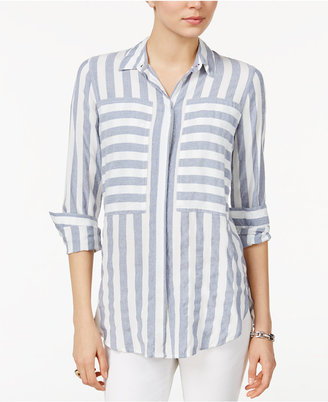 Tommy Hilfiger Striped Boyfriend Shirt, Only at Macy's $79.50 thestylecure.com