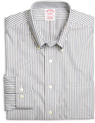 Brooks Brothers Supima Cotton Non-Iron Regular Fit Navy Stripe Twill Sport Shirt