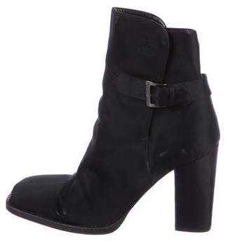 Chanel Satin Square-Toe Ankle Boots