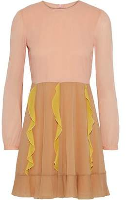 RED Valentino Ruffle-Trimmed Silk-Blend Crepe De Chine Mini Dress