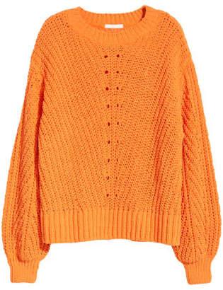 H&M Knit Chenille Sweater - Orange