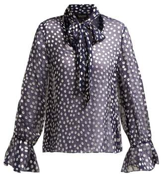 Saloni Lauren Silk Blend Fil Coupe Blouse - Womens - Navy White