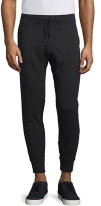 John Varvatos Star USA Stretch-Knit Moto Jogger Pants, Black $198 thestylecure.com