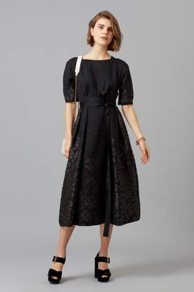 Amanda Wakeley Black Organza Cloque Jacquard Midi Dress