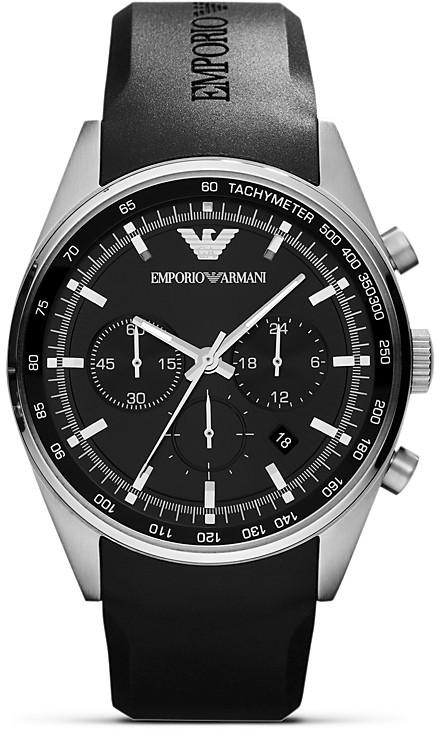 Emporio Armani Black Rubber Strap Watch, 43mm