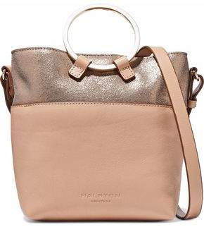 Halston Metallic Cracked And Smooth-Leather Shoulder Bag