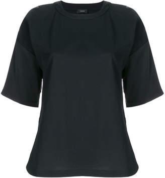 Joseph shoulder buttoned satin sleeve T-shirt