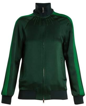 Valentino - High Neck Zip Through Satin Jersey Track Top - Womens - Green