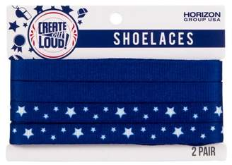 Create out Loud Create Out Loud Shoelace Set in Blue & Blue/White Stars