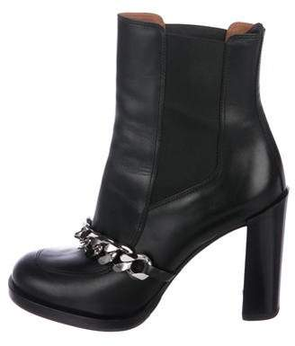 Givenchy Leather Chain-Link Ankle Boots