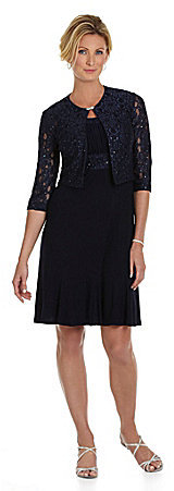 Jessica Howard Rhinestone Brooch Jacket Dress