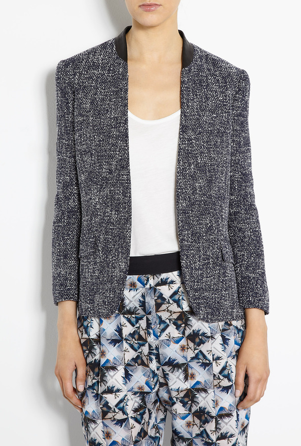 Paul Smith Black Tweed Edge To Edge Jacket With Leather Trim