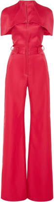 Brandon Maxwell Cape-Effect Silk And Wool-Blend Wide-Leg Jumpsuit