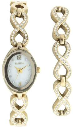 Elgin Women's Oval White Dial Analog Watch and Bracelet Set, Gold and Crystal Infinity-Shaped Bracelet